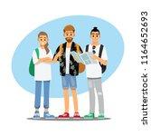 happy group of teen traveler ... | Shutterstock .eps vector #1164652693
