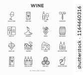 wine thin line icons set ... | Shutterstock .eps vector #1164660316