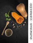organic butternut squash with... | Shutterstock . vector #1164661333