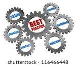 3d silver grey gearwheels with... | Shutterstock . vector #116466448