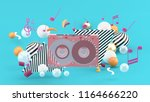 music tape among the colorful... | Shutterstock . vector #1164666220