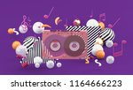 music tape among the colorful... | Shutterstock . vector #1164666223