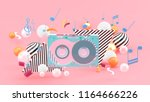 music tape among the colorful... | Shutterstock . vector #1164666226