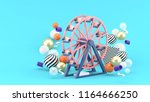ferris wheel among colorful... | Shutterstock . vector #1164666250