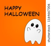 flying ghost wishes a happy... | Shutterstock .eps vector #1164667306