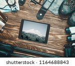 equipment for travel and hiking ... | Shutterstock . vector #1164688843
