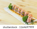 grilled salmon sushi roll  ... | Shutterstock . vector #1164697999