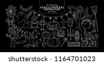set of isolated halloween... | Shutterstock .eps vector #1164701023