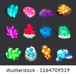 crystals and minerals set.... | Shutterstock .eps vector #1164709519
