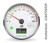 decibel gauge. volume unit on... | Shutterstock .eps vector #1164726529