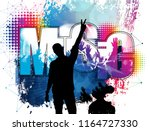 party background with dancing... | Shutterstock .eps vector #1164727330