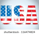vector   usa glass letters with ... | Shutterstock .eps vector #116474824