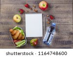 lunch box with croissant ... | Shutterstock . vector #1164748600