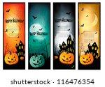 four halloween banners vector   Shutterstock .eps vector #116476354