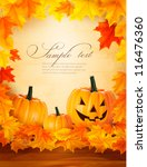 pumpkin background with leaves. ... | Shutterstock .eps vector #116476360