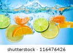 tropical fruits fall deeply... | Shutterstock . vector #116476426