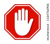 stop red sign icon with white... | Shutterstock .eps vector #1164766906