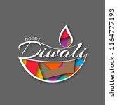illustration of happy diwali... | Shutterstock .eps vector #1164777193