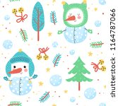 seamless pattern with cute...   Shutterstock .eps vector #1164787066