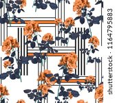 Stock photo flowers and lines fashion fabric pattern 1164795883