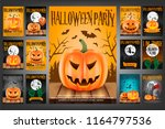 set of 13 scary poster for...   Shutterstock .eps vector #1164797536