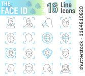 face id thin line icon set ... | Shutterstock .eps vector #1164810820