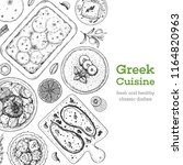 greek cuisine top view frame. a ... | Shutterstock .eps vector #1164820963