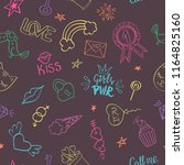 seamless pattern with hand... | Shutterstock .eps vector #1164825160