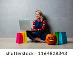 portrait of a young style... | Shutterstock . vector #1164828343