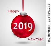 2019 in red christmas ball with ... | Shutterstock .eps vector #1164841273