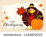 happy thanksgiving  greeting... | Shutterstock .eps vector #1164852010