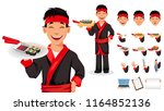 japanese chef cooking sushi... | Shutterstock .eps vector #1164852136