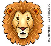 pixel lion face animal portrait ... | Shutterstock .eps vector #1164853870