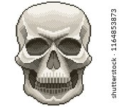 pixel human skull detailed and... | Shutterstock .eps vector #1164853873