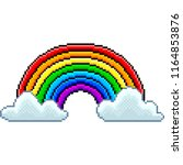 pixel rainbow with clouds... | Shutterstock .eps vector #1164853876