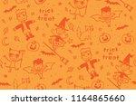 doodle halloween character... | Shutterstock .eps vector #1164865660