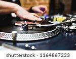 close up shot vintage vinyl... | Shutterstock . vector #1164867223