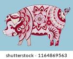 zendoodle design of cute... | Shutterstock .eps vector #1164869563
