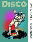 disco. woman astronaut dancing. ... | Shutterstock .eps vector #1164871660