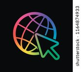 globe and arrow icon. rainbow... | Shutterstock .eps vector #1164874933