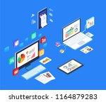 isometric data electronic device | Shutterstock .eps vector #1164879283