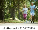 active and healthy aged couple... | Shutterstock . vector #1164890086