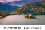 autumn view on bled lake with... | Shutterstock . vector #1164894286