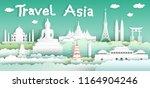 landmarks of the world with...   Shutterstock .eps vector #1164904246