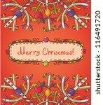 merry christmas card | Shutterstock .eps vector #116491720