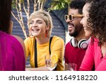 young adults hanging out ... | Shutterstock . vector #1164918220