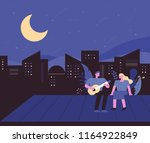 a man playing a guitar on a... | Shutterstock .eps vector #1164922849