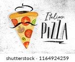 poster italian slice of pizza... | Shutterstock .eps vector #1164924259