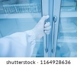 close up scientist hand opening ... | Shutterstock . vector #1164928636