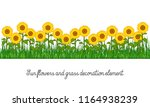 sunflowers and grass decoration ... | Shutterstock .eps vector #1164938239